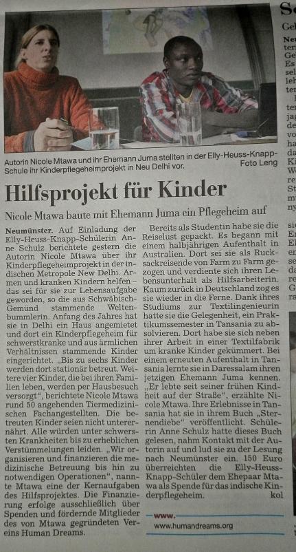 Zeitungsartikel in den Kieler Nachrichten