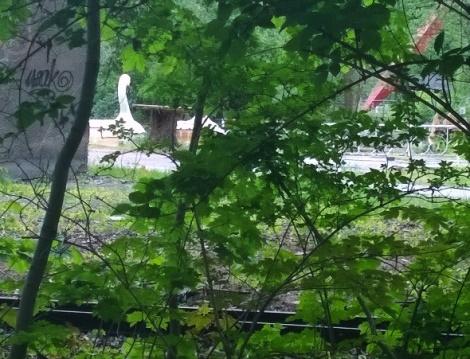 Schwan-Boot von hier aus nur durch Stäucher teilweise sichtbar