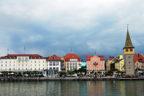 Promenade am Hafen vom Lindau, vom Wasser aus gesehen